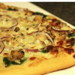 Favorite Pizza Crust + Chicken Spinach Alfredo Pizza