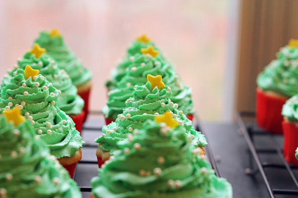 Dreamy whipped Christmas trees