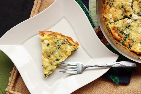 Spinach, Scallion and Feta Frittata