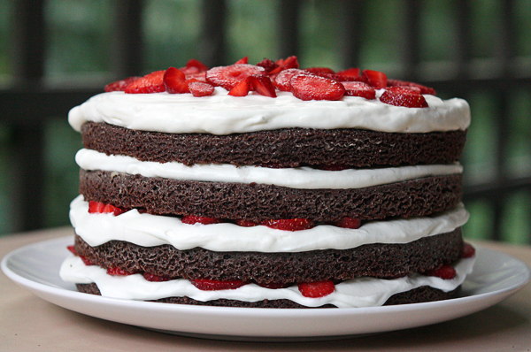 Chocolate Strawberry Layer Cake