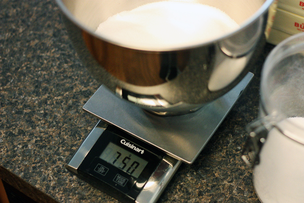 Weighing the sugar