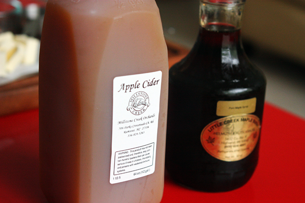 Fresh cider and maple syrup