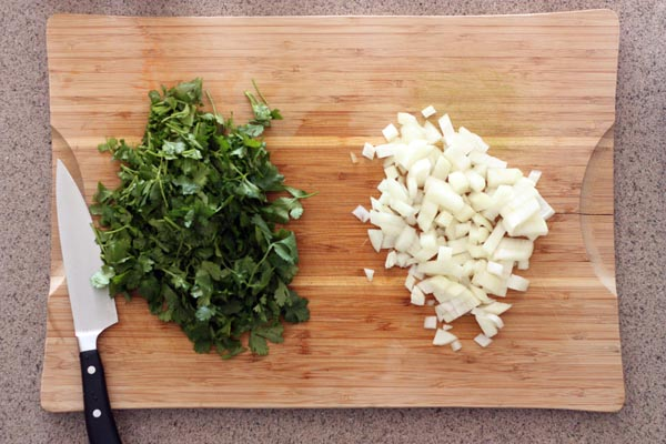 Chopped onions and cilantro