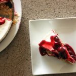 (Almost) No-Bake Cheesecake with Fresh Cherry Sauce